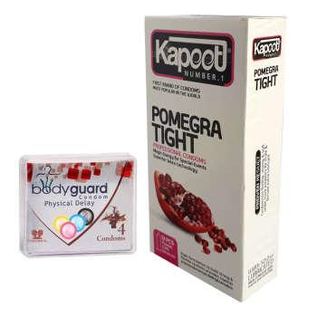 کاندوم کاپوت مدل Pomegra Tight بسته 12 عددی به همراه کاندوم بادیگارد مدل Physical delay بسته 4 عددی