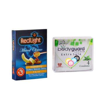 کاندوم ردلایت مدل Mutual Climax بسته 3 عددی به همراه کاندوم بادیگارد مدل Extra Safe بسته 4 عددی