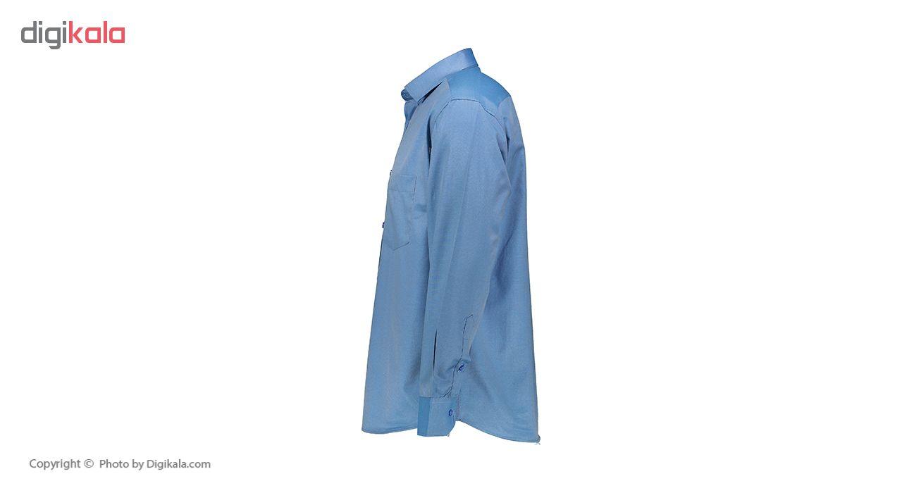 پیراهن آستین بلند مردانه نیلی متالیک مدل S-001