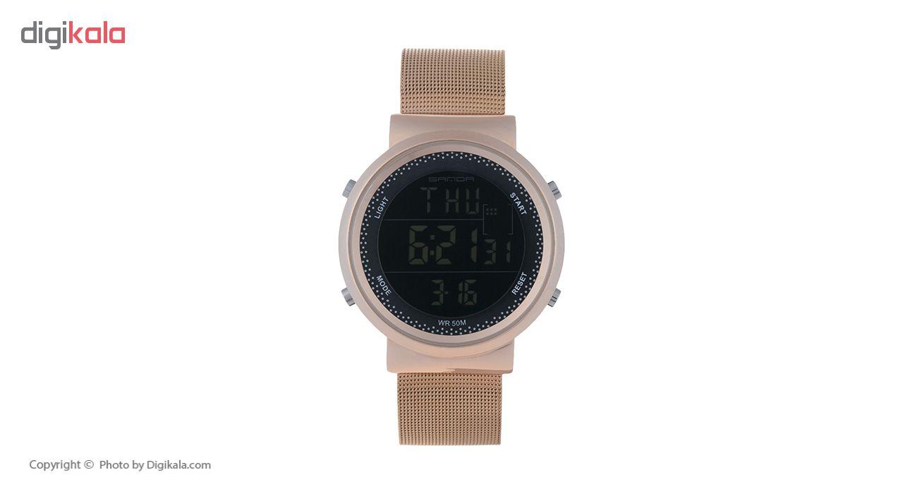 خرید ساعت مچی دیجیتال زنانه ساندا مدل CR2016-384-RO به همراه دستمال مخصوص نانو برند کلیر واچ