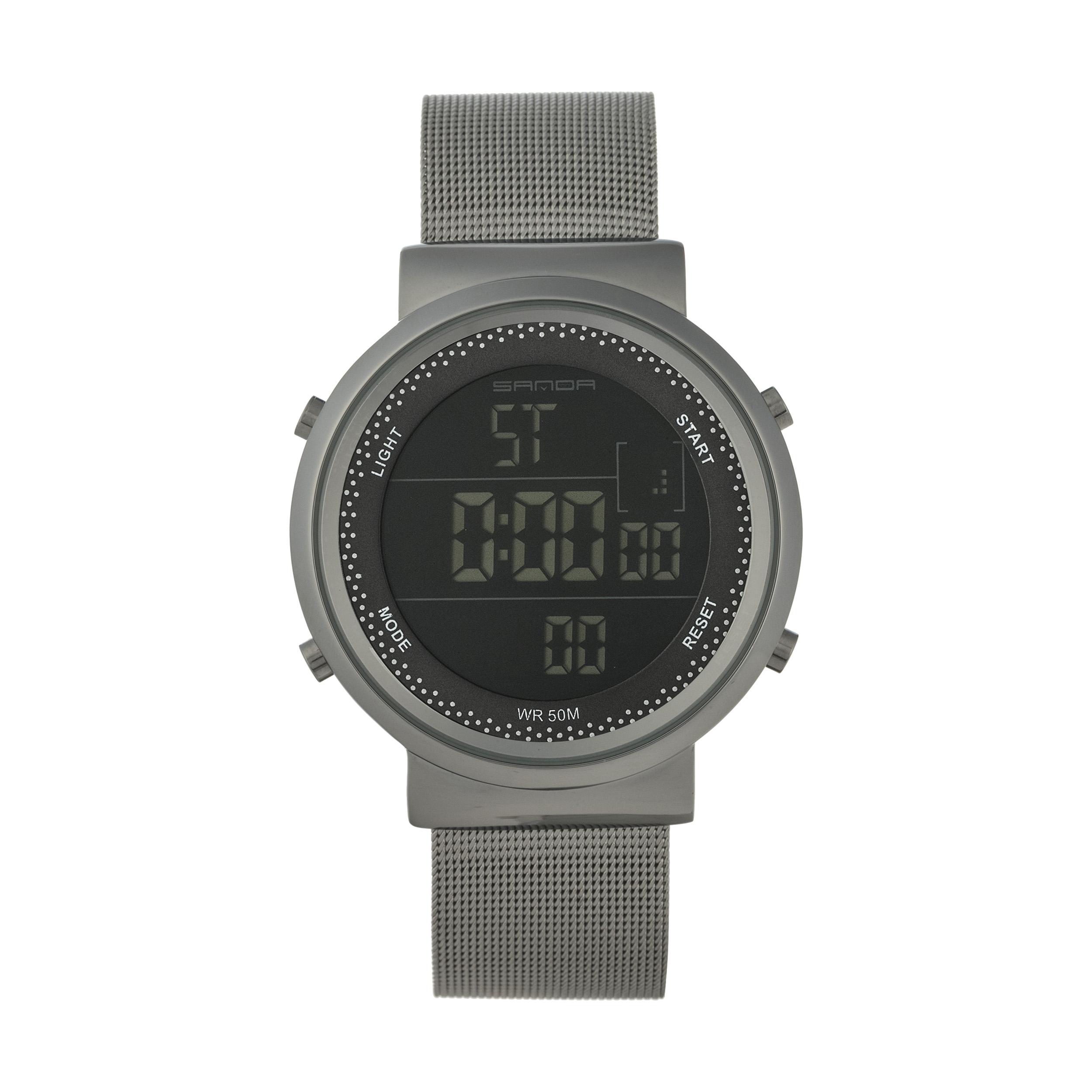 خرید ساعت مچی دیجیتال زنانه ساندا مدل CR2016-384-N به همراه دستمال مخصوص نانو برند کلیر واچ