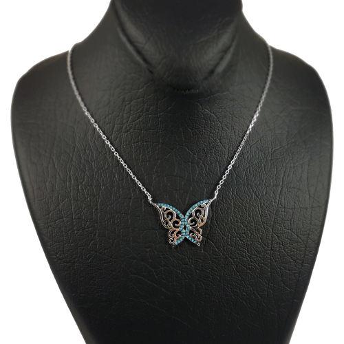 گردنبند نقره گالری رویتال  طرح پروانه مدل 105003218-1