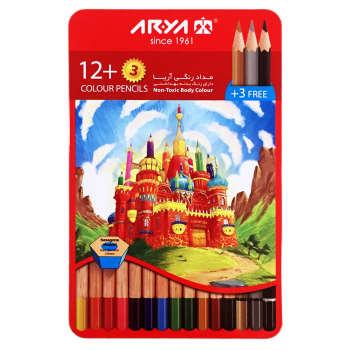 مداد رنگی 15 رنگ آریا مدل قصر کد 3021