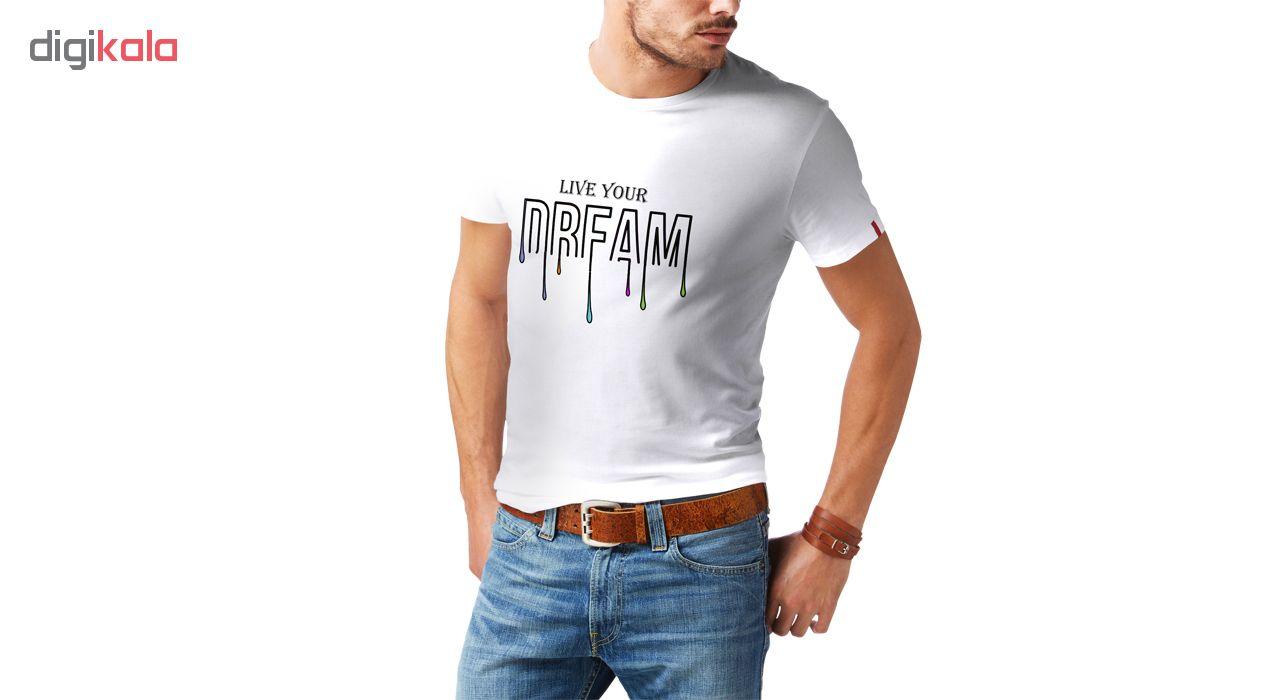 تیشرت آستین کوتاه مردانه طرح دریم کد SW213 رنگ سفید