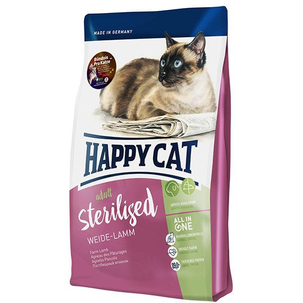 غذای خشک گربه بالغ هپی کت مدل sterilised02 حاوی گوشت بره وزن 1.4 کیلوگرم