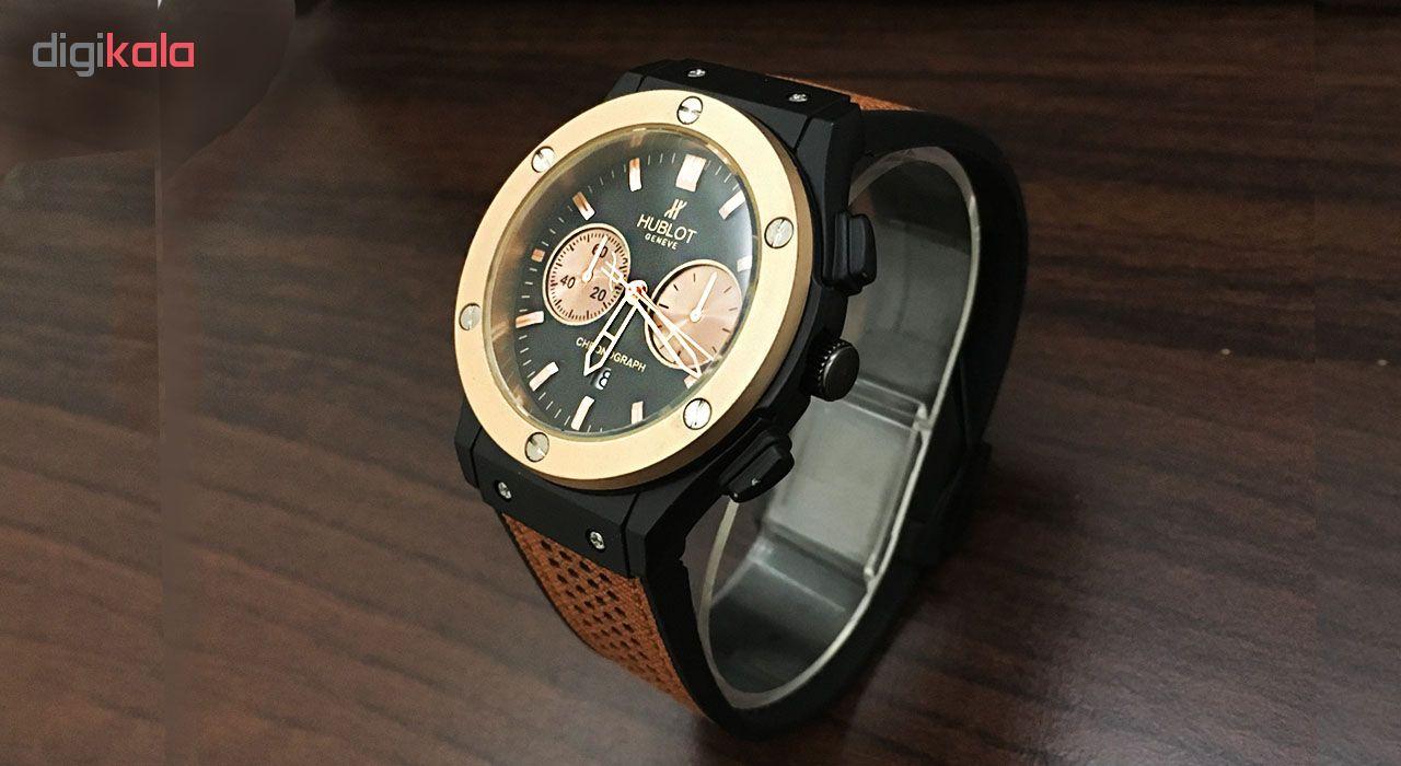 ساعت مچی عقربه ای مردانه مدل hu100 به همراه دستمال مخصوص کلین واچ