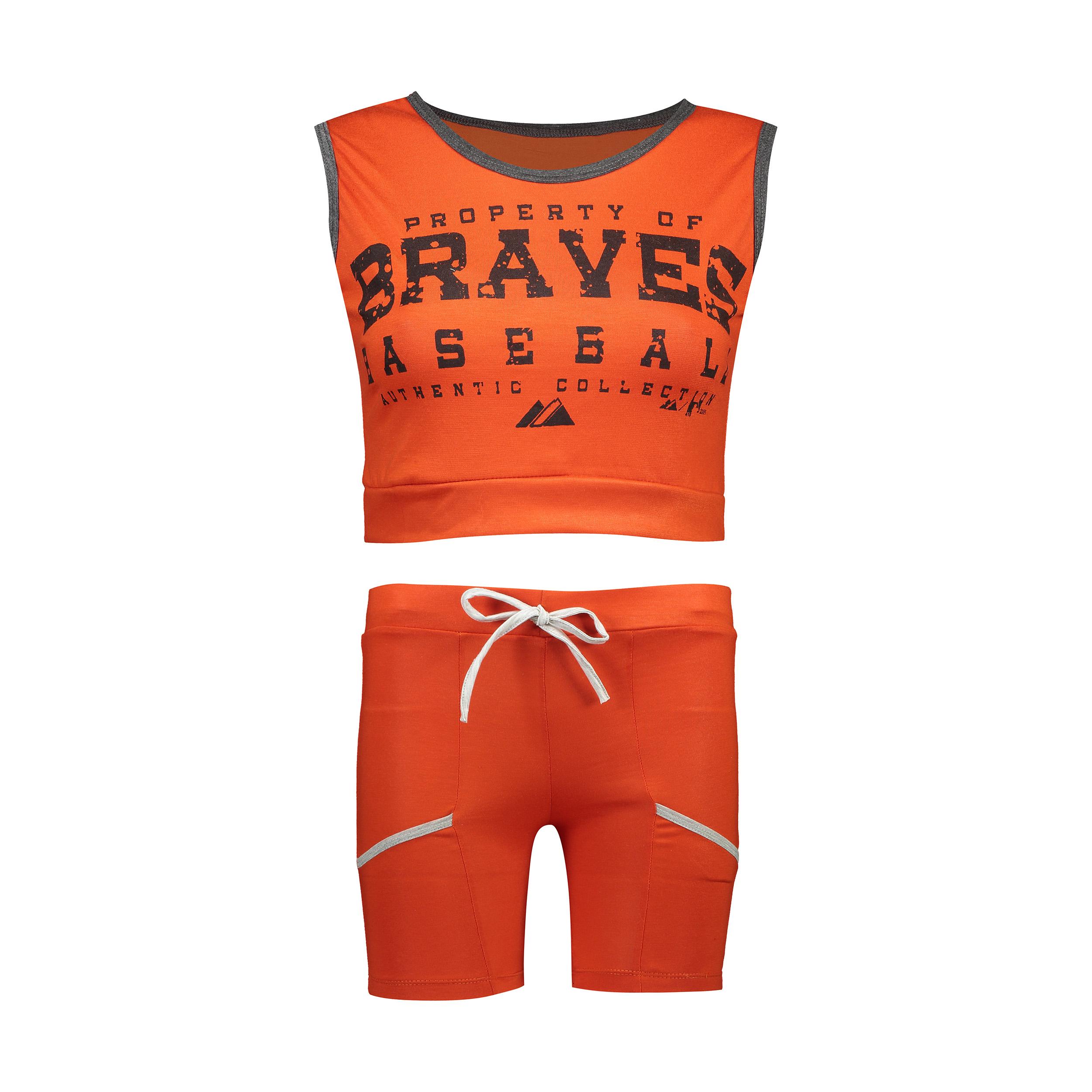 ست نیم تنه و شلوارک ورزشی زنانه مدل Braves-D-OR2