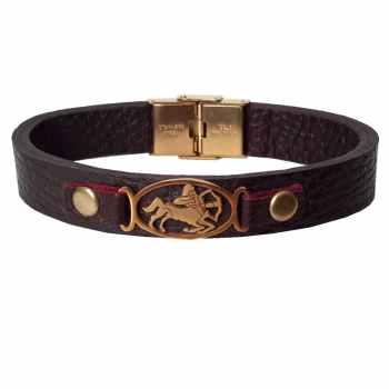 دستبند چرمی مانی چرم طرح ماه تولد آذر کد BL-179 تک سایز