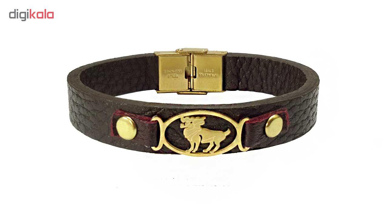 دستبند چرمی مانی چرم طرح ماه تولد فروردین کد BL-171 تک سایز