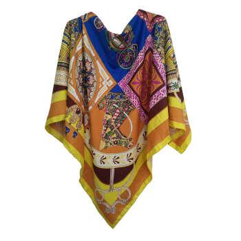 روسری ابریشم حریر دست دوز زنانه طرح ماهوش کد SH-02 thumb