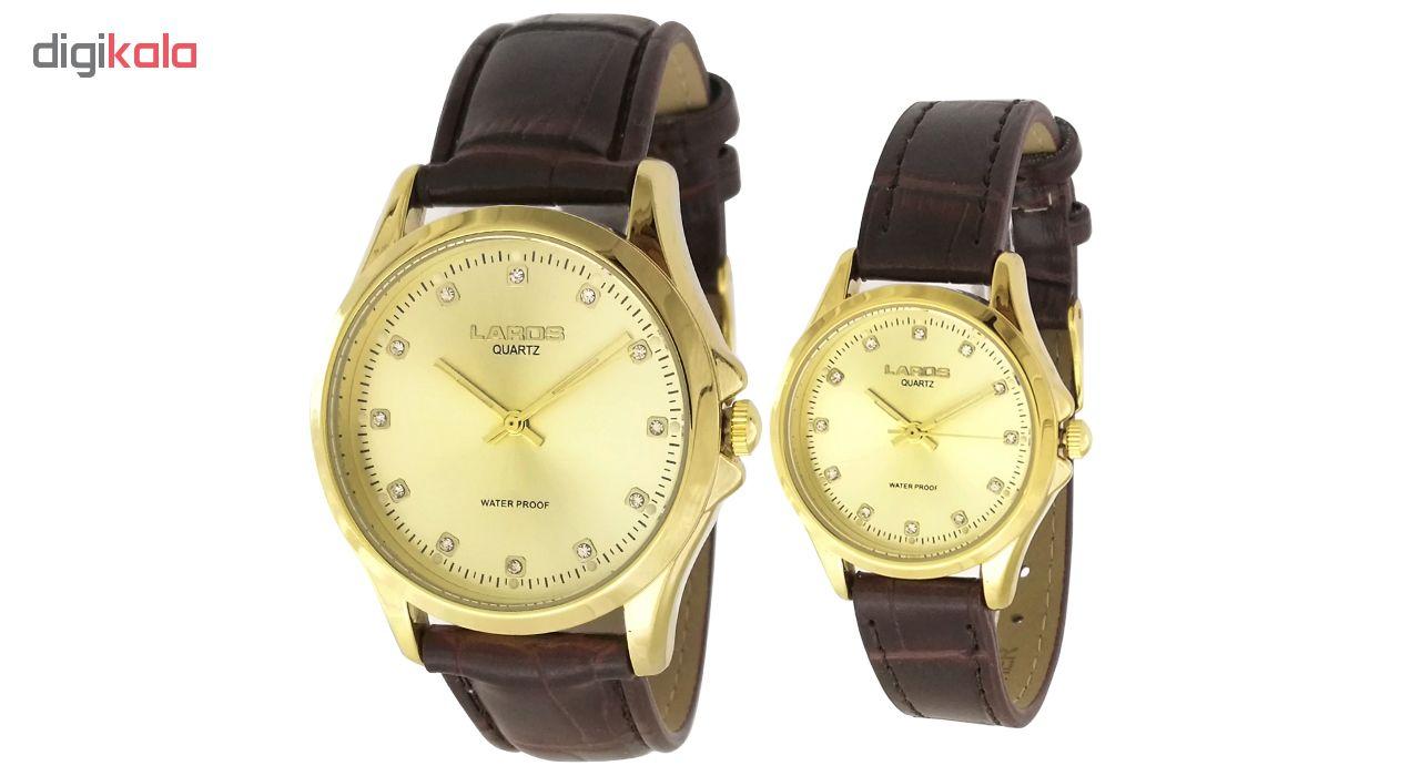 ست ساعت مچی عقربه ای زنانه مردانه لاروس مدل 0118-80227-s  به همراه دستمال مخصوص برند کلین واچ