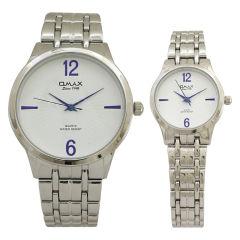 ست ساعت مچی عقربه ای مردانه زنانه اوماکس مدل hsj883  به همراه دستمال مخصوص برند کلین واچ