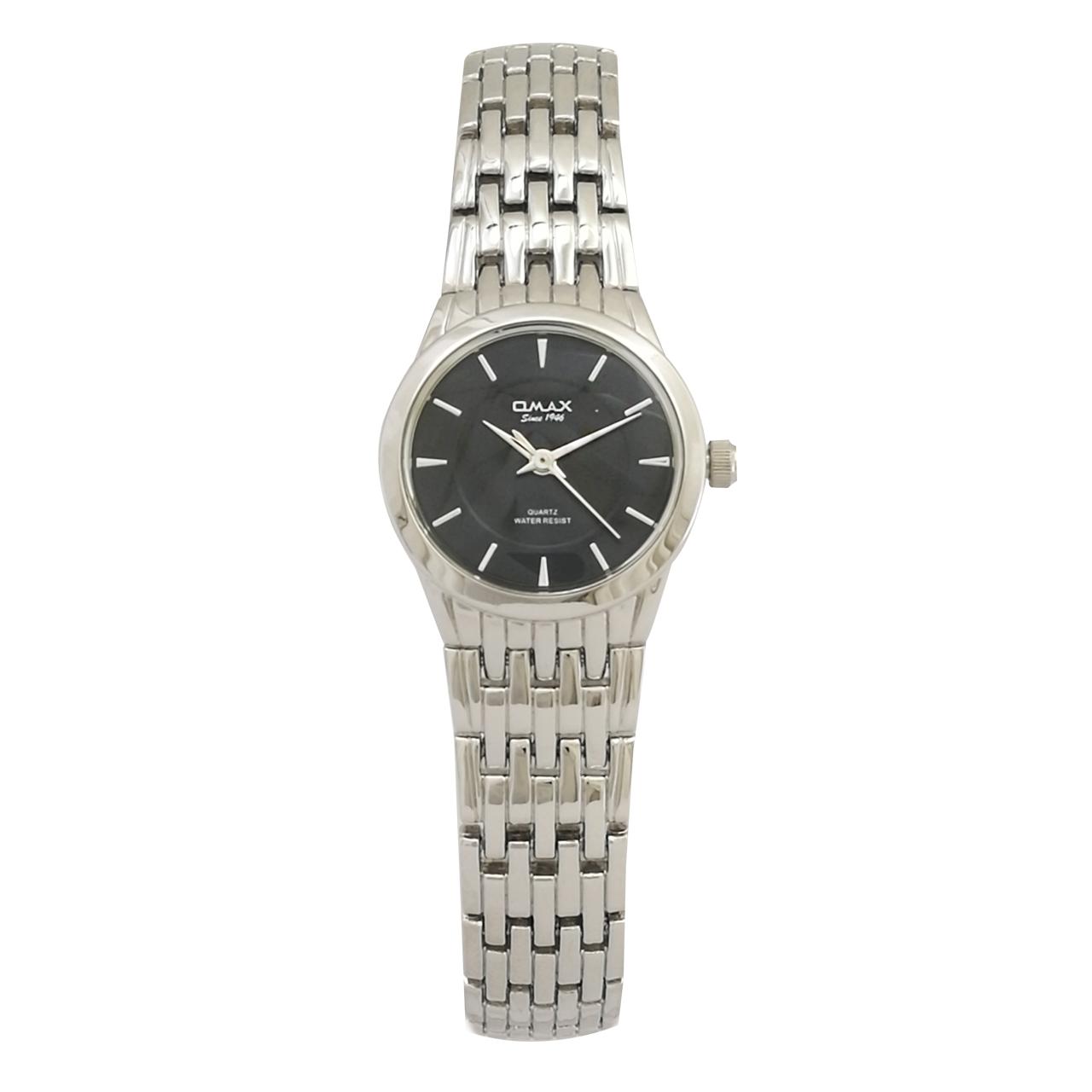 ساعت مچی عقربه ای  زنانه اوماکس مدل hbc184 bj867 به همراه دستمال مخصوص برند کلین واچ 34