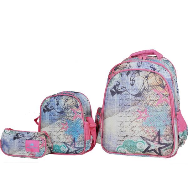 کوله پشتی گلاسی برد طرح ستاره به همراه کیف نگهدارنده غذا و جامدادی