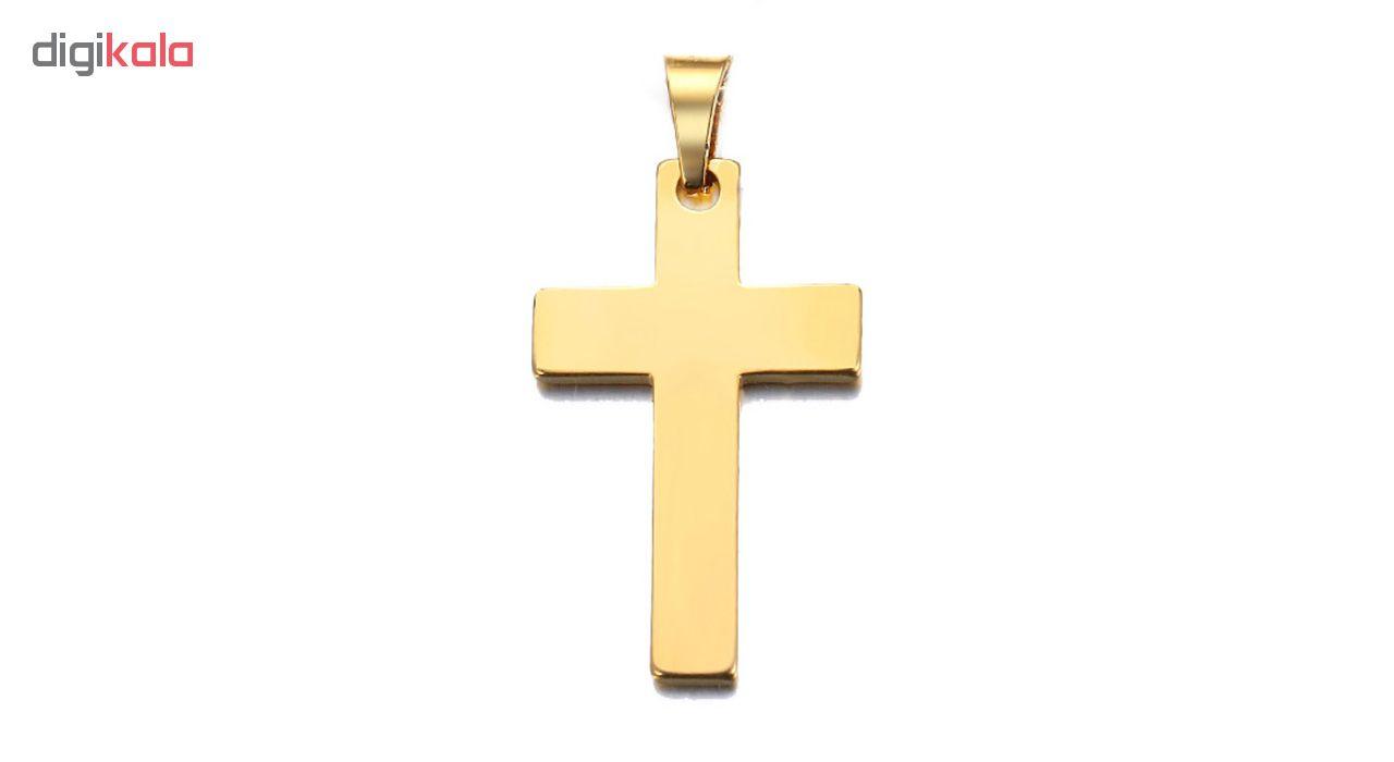 آویز گردنبند طلا 18 عیار جواهری میکا طرح صلیب کد 0110021