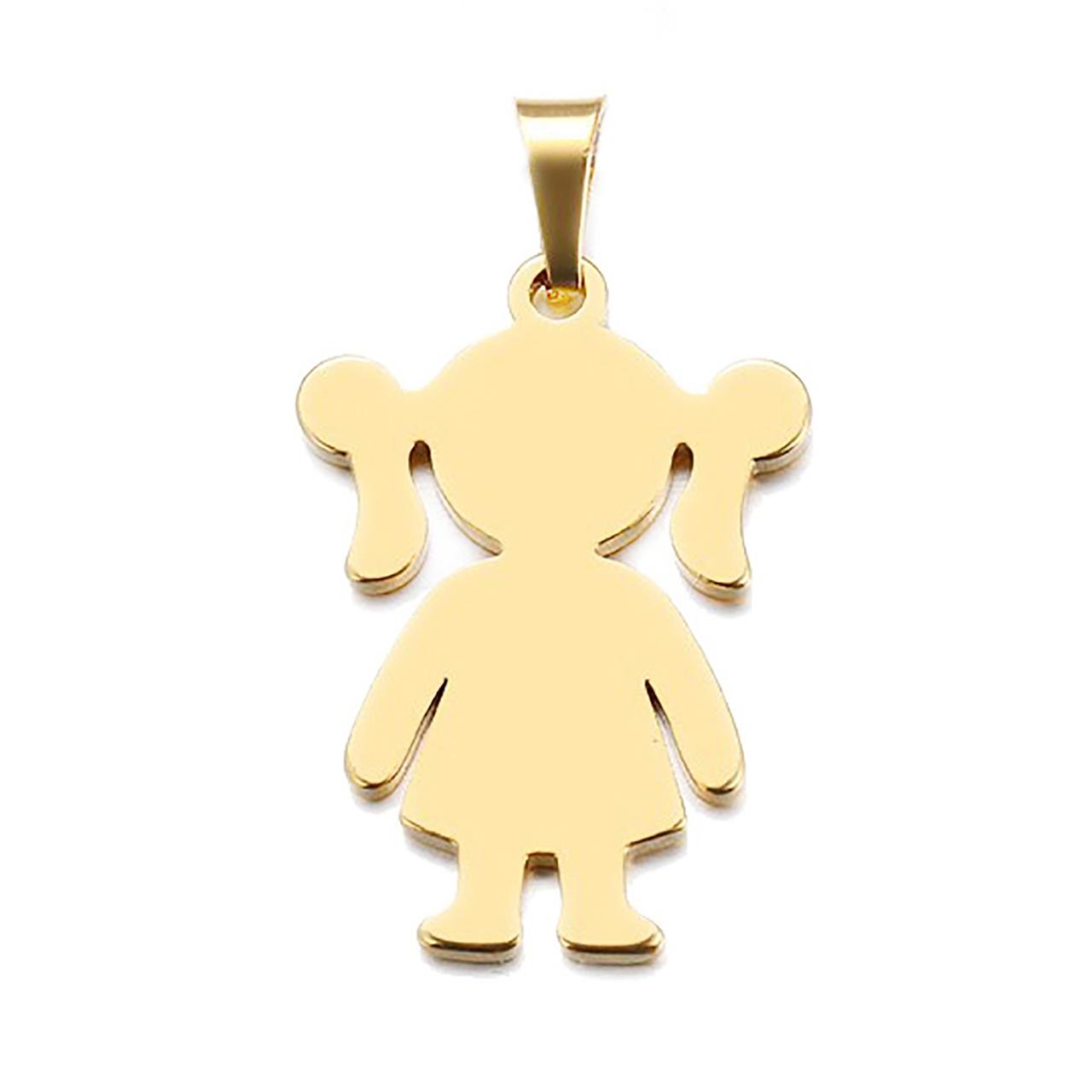 آویز گردنبند طلا 18 عیار جواهری میکا طرح دختر بچه کد 0110020