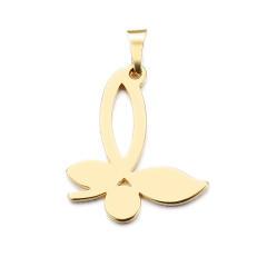 آویز گردنبند طلا 18 عیار جواهری میکا طرح پروانه کد 0110019