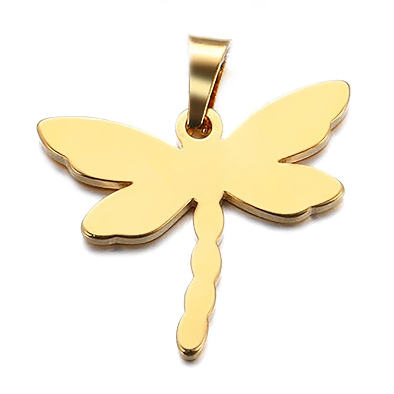 آویز گردنبند طلا 18 عیار جواهری میکا طرح سنجاقک کد 0110051