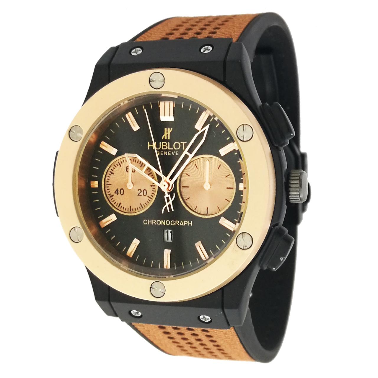 ساعت مچی عقربه ای مردانه مدل hu100 به همراه دستمال مخصوص کلین واچ 33
