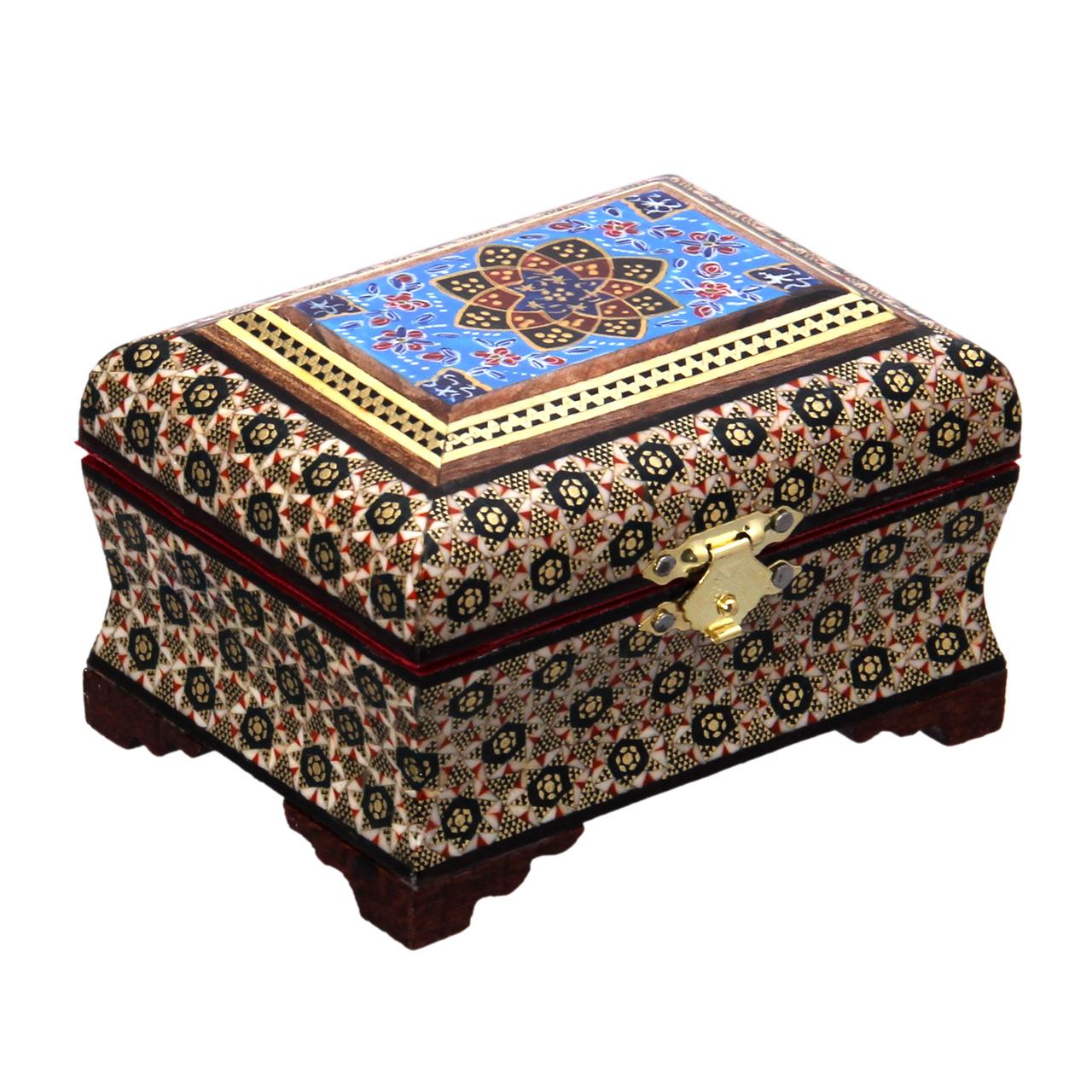 خرید                      جعبه جواهرات خاتم کاری کد 2-70108