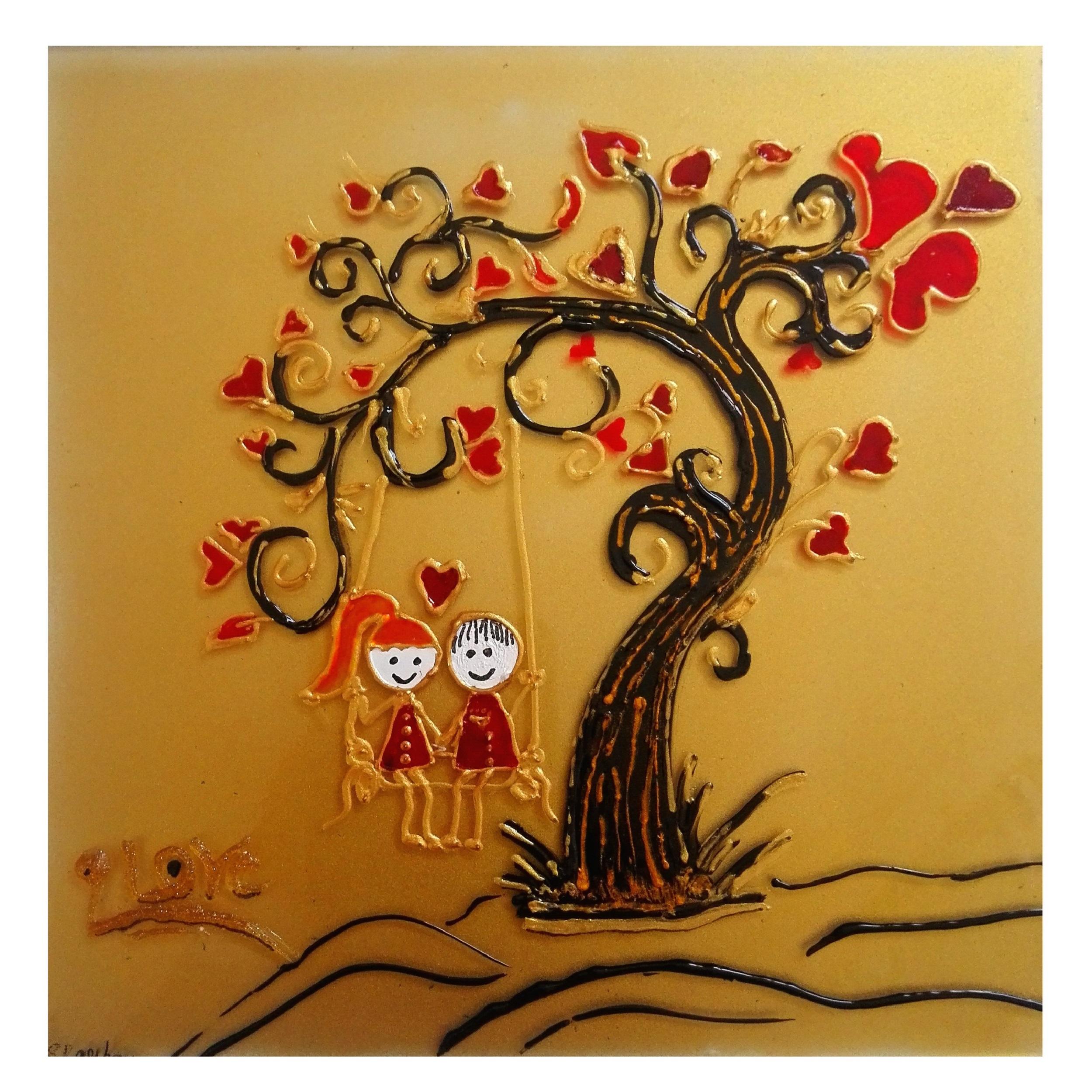تابلو ویترای طرح درخت قلب کد032