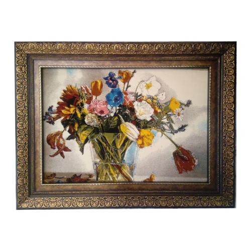 تابلو فرش ماشینی قاب دوبل طرح گل با گلدان شیشه ای مدل SF1-7064 سایز فرش 50*70 سانتیمتر