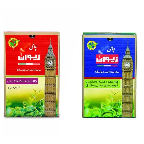 چای شکسته لندن زیوان مقدار 450 گرم به همراه  چای بهاره زیوان مقدار 450 گرم