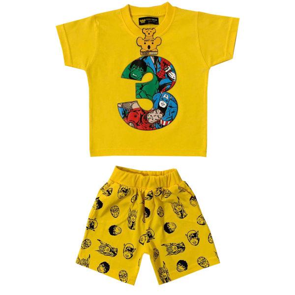 ست تی شرت و شلوارک پسرانه خرس کوچولو مدل 3 کد 03