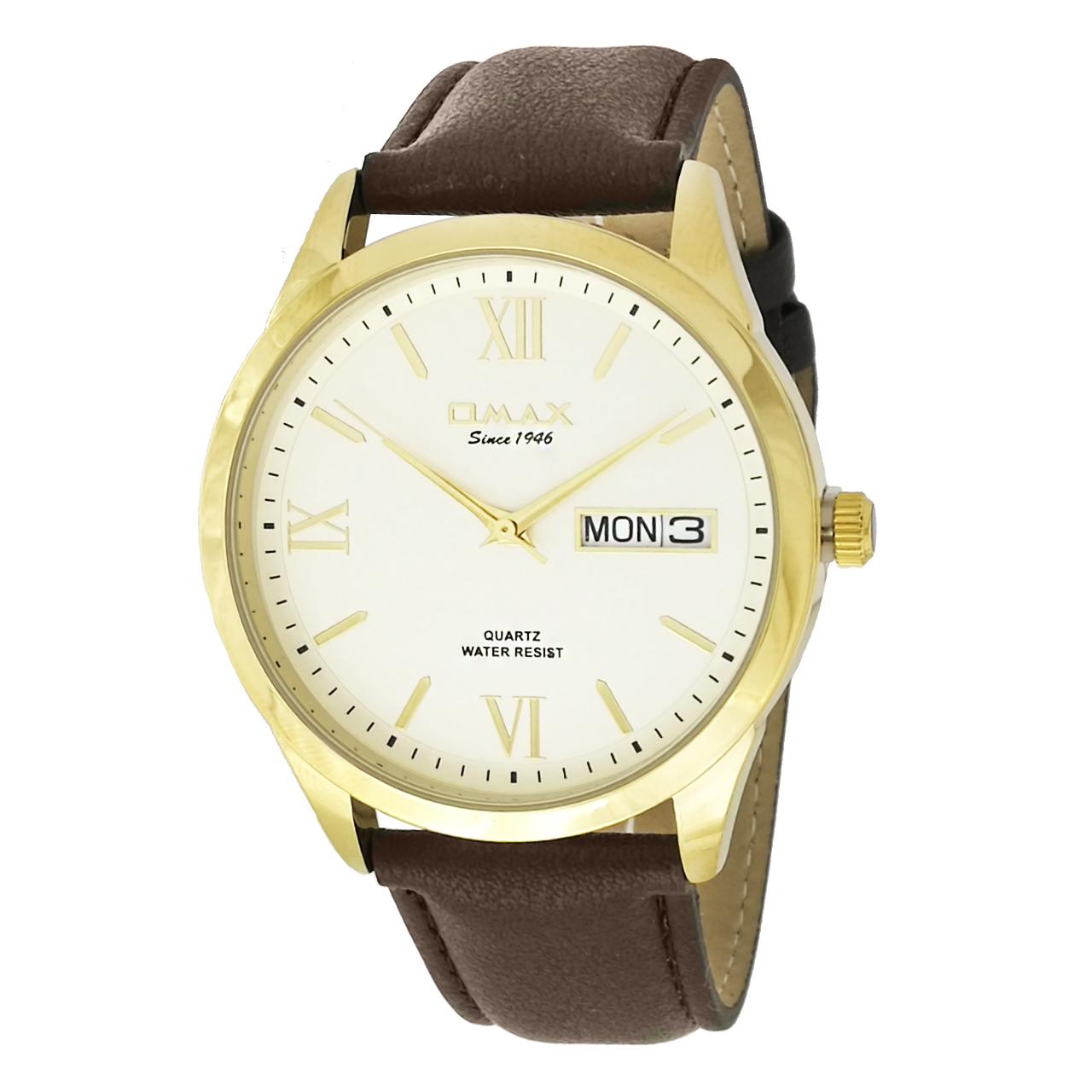 ساعت مچی عقربه ای مردانه اوماکس مدلgd05g35 به همراه دستمال مخصوص برند کلین واچ 50