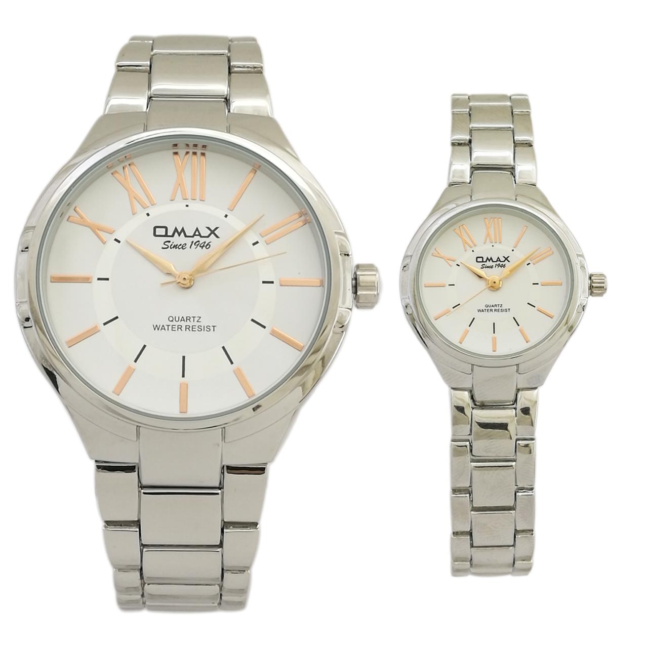 ست ساعت مچی عقربه ای اوماکس مدل hsj863 به همراه دستمال مخصوص برند کلین واچ