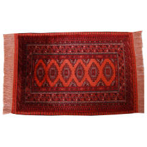 فرش دستبافت نیم متری تمام ابریشم دو رو طرح ترکمن کد 1701