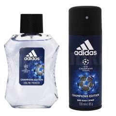 ادو تویلت مردانه آدیداس مدل UEFA CHAMPION LEAGE حجم 100 میلی لیتر  به همراه اسپری مدل UEFA CHAMPION LEAGE حجم 150 میلی لیتر