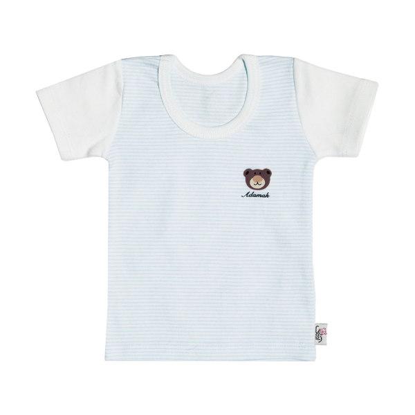 تیشرت آستین کوتاه نوزادی آدمک طرح راه راه کد 02 رنگ آبی