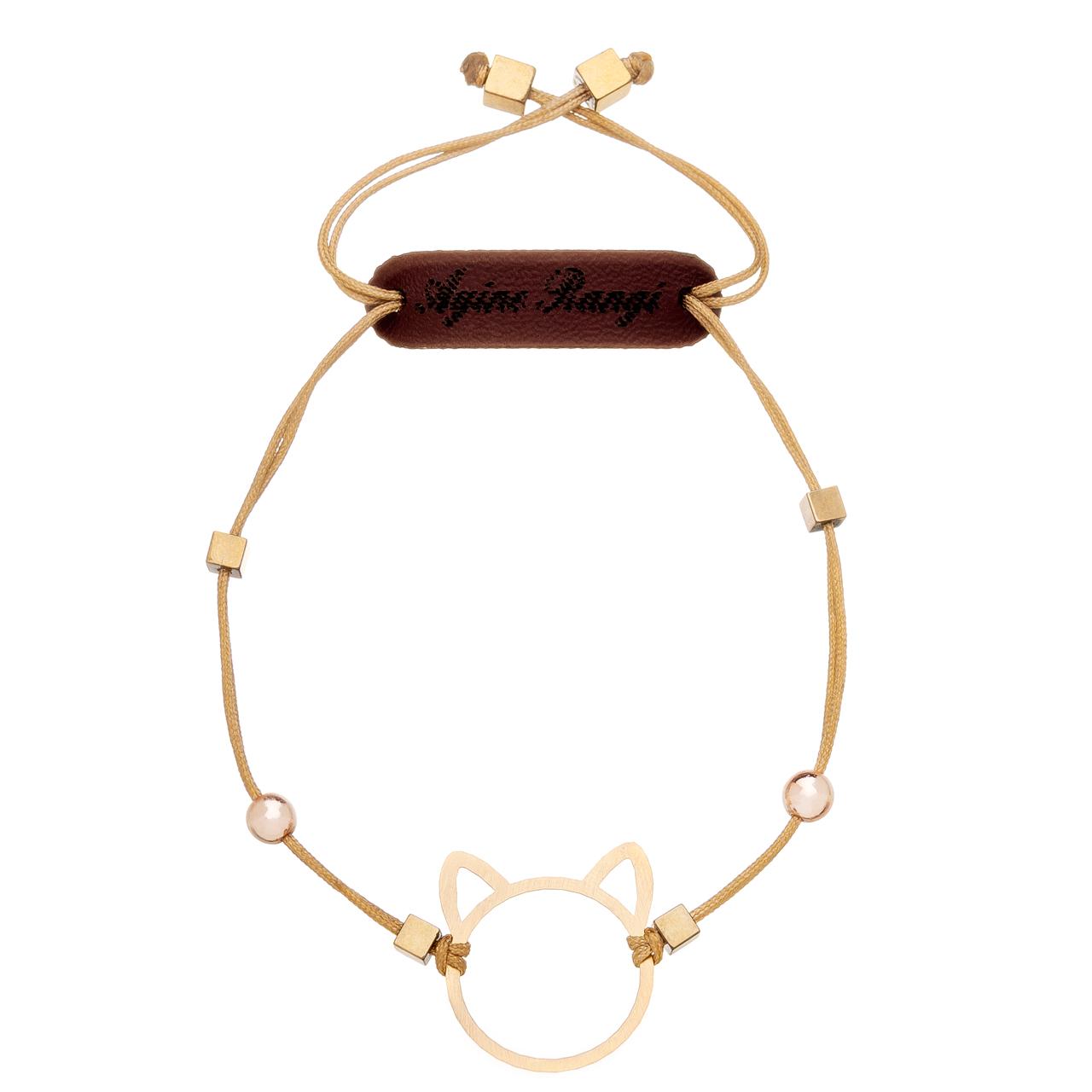 دستبند طلا 18 عیار آیینه رنگی طرح میو کد AR-H06