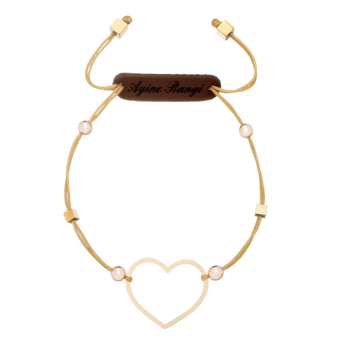 قیمت دستبند طلا 18 عیار آیینه رنگی طرح قلب کد AR-H08