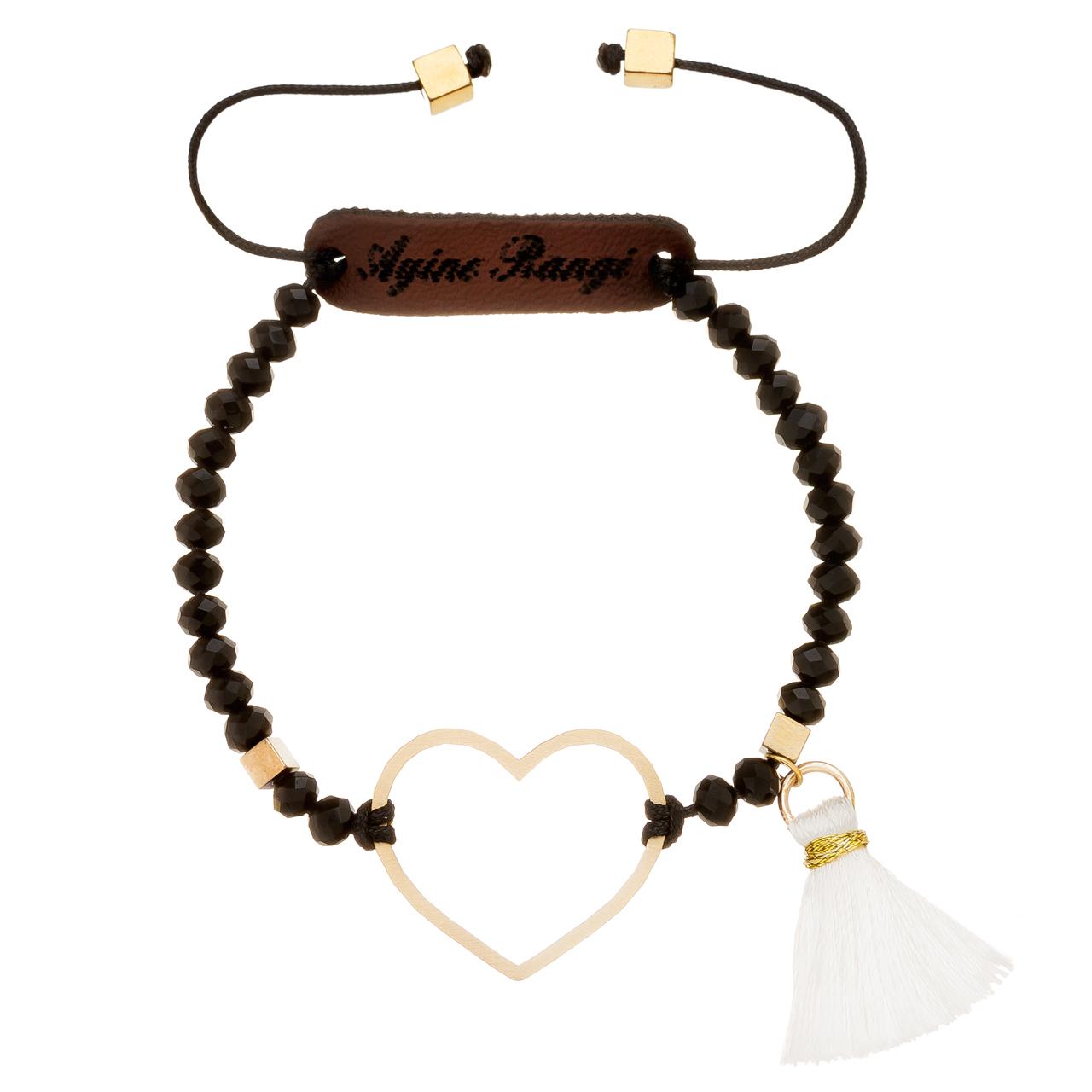 دستبند طلا 18 عیار آیینه رنگی طرح قلب کد AR-M08
