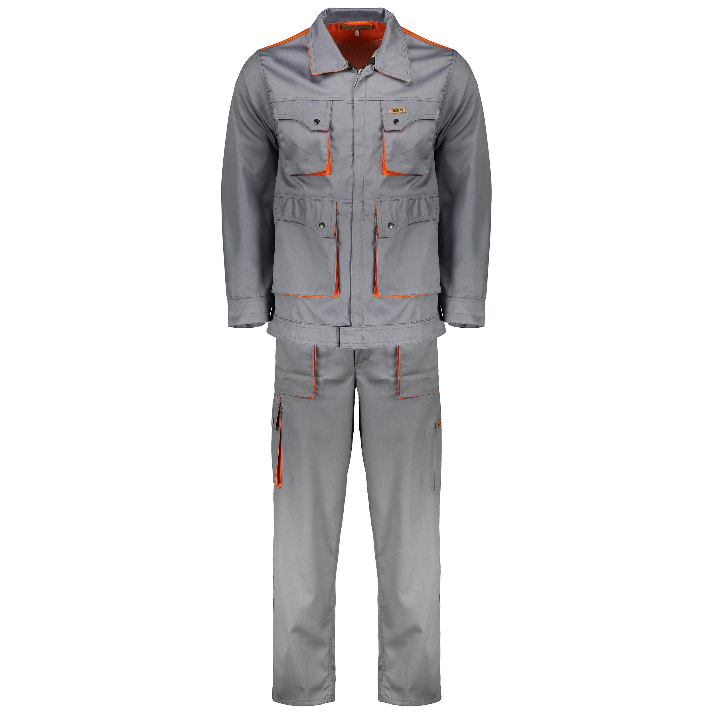 لباس کار سبلان  کد 01 مدل طوسی نارنجی
