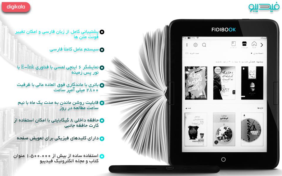 کتاب خوان فیدیبوک مدل Hannah F1 WiFi ظرفیت 8 گیگابایت همراه با کارت هدیه 100000 تومانی فیدیبو infographic