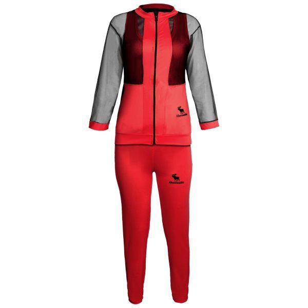 ست سویشرت و شلوار ورزشی زنانه کد A009 رنگ قرمز