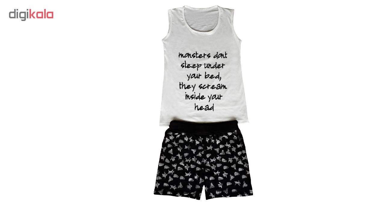 تاپ و شلوارک زنانه کد black&white01