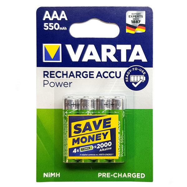 باتری نیم قلمی قابل شارژ وارتا مدل VA-550 بسته 4 عددی