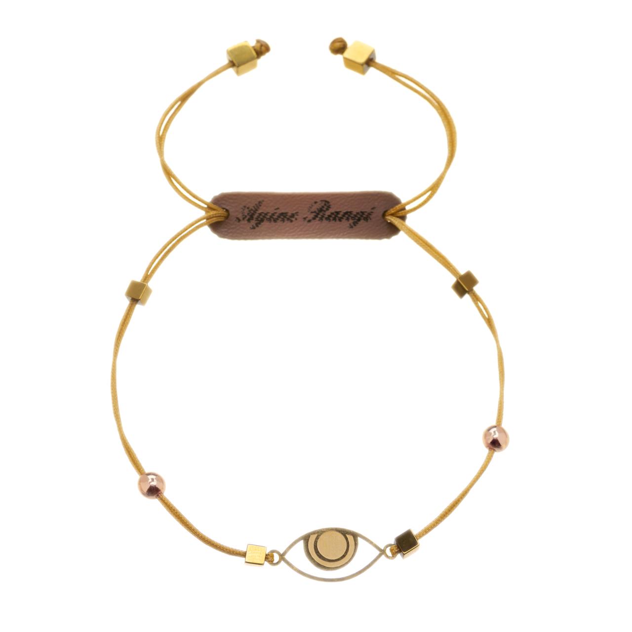 قیمت دستبند طلا 18 عیار آیینه رنگی طرح چشم کد AR-H05