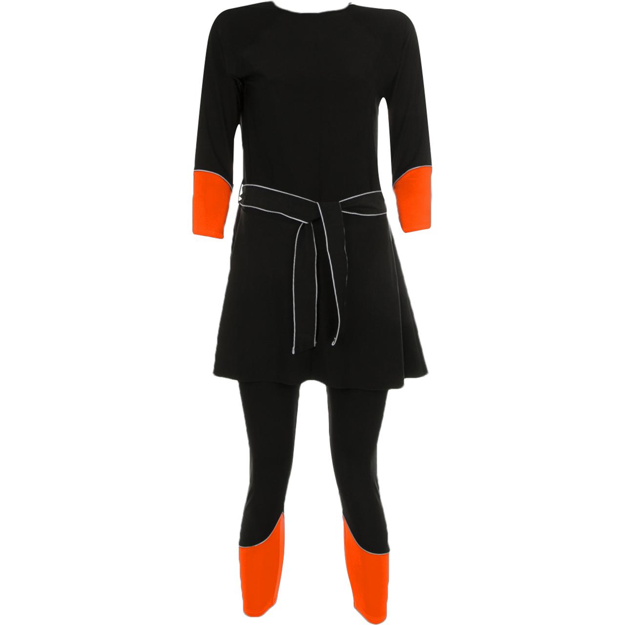مایو زنانه  کاپدار . دامن دار پوشیده اسلامی ضد جذب مدل IS4 به همراه کلاه شنا نارنجی فسفری
