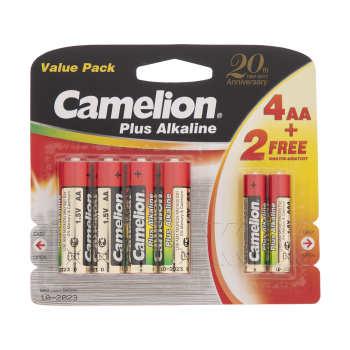 باتری قلمی کملیون مدل Plus Alkaline بسته 4 عددی  همراه 2 باتری نیم قلمی