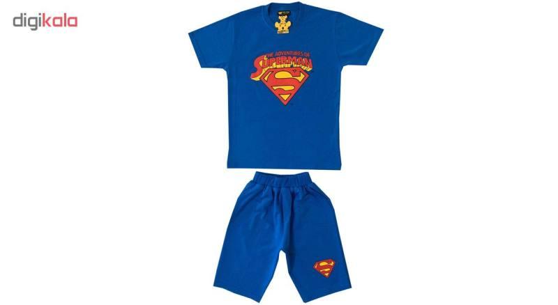 ست تیشرت و شلوارک پسرانه خرس کوچولو مدل سوپرمن کد 07