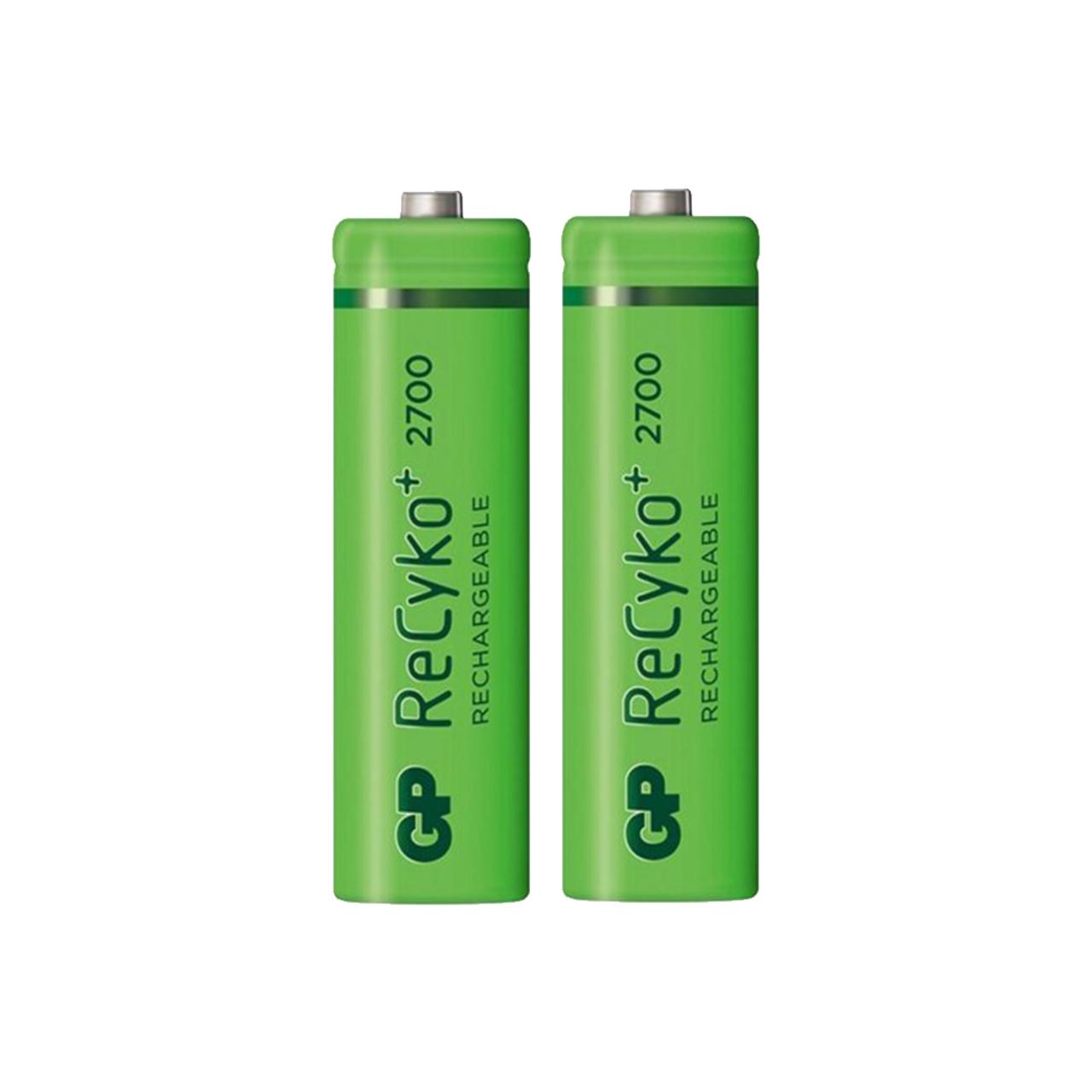 بررسی و {خرید با تخفیف}                                     باتری قلمی قابل شارژ جی پی مدل ReCyko Plus 2700 بسته 2 عددی                             اصل