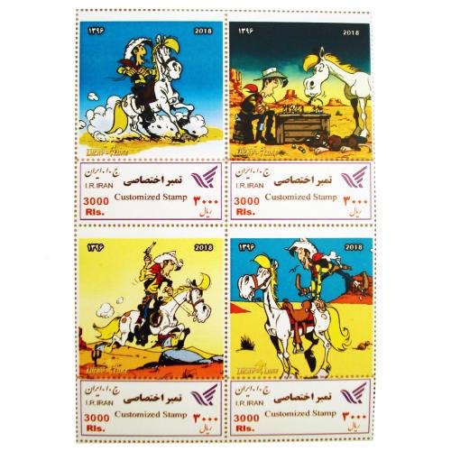 تمبر یادگاری سری کارتونی مدل Lucky Luke مجموعه 4 عددی