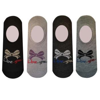 جوراب زنانه طرح پاپیون مجموعه 4 عددی