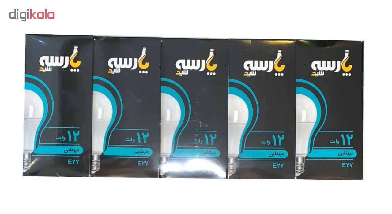 لامپ ال ای دی 12 وات پارسه شید مدل A60 پایه E27 بسته 5 عددی