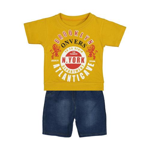 ست تی شرت و شلوارک نوزادی پسرانه کد 144